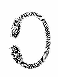 cheap -Viking Dragon Head Metal Cuff Bangle Irish Celtic Knot Screw Bracelet