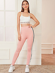 cheap -Women's Casual / Sporty Sports Leggings Sweatpants Pants Lines / Waves Color Block Full Length Blushing Pink