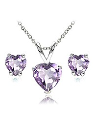 cheap -Sterling Silver Amethyst Heart Solitaire Necklace and Stud Earrings