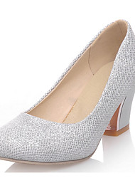 cheap -Women's Heels Pumps Round Toe Casual Daily Walking Shoes Faux Leather Sequin Solid Colored Almond Purple Silver