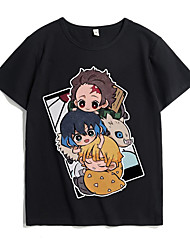 cheap -Inspired by Demon Slayer Cosplay Cosplay Costume T-shirt Polyester / Cotton Blend Graphic Prints Printing Harajuku Graphic T-shirt For Women's / Men's