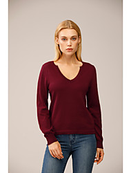 cheap -Women's Knitted Solid Color Pullover Long Sleeve Sweater Cardigans V Neck Fall Winter Red
