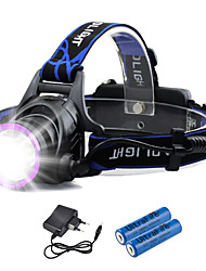 cheap -Headlamps Waterproof Rechargeable 1800 lm LED LED 1 Emitters 3 Mode with Batteries and Chargers Waterproof Rechargeable Camping / Hiking / Caving Everyday Use Cycling / Bike EU Plug AU Plug UK Plug