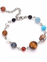 cheap -Universe 9 Planets Solar System Beaded Bracelets Stainless Steel Link Chain Adjustable (silver color)