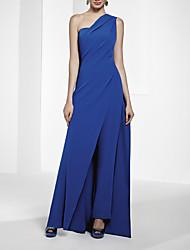 cheap -Jumpsuits Minimalist Sexy Wedding Guest Formal Evening Dress One Shoulder Sleeveless Floor Length Chiffon with Sleek 2021