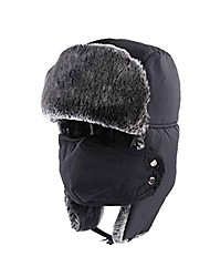 cheap -Unisex Double Layer Thicker Skiing Hat Protecting Ear with Mask Outdoor Waterproof Warming Hat for Winter,Black