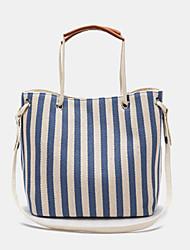 cheap -women striped casual canvas handbag crossbody bag
