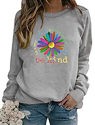 cheap -Women in A World Where You Can Be Anything Be Kind Sweatshirt Sunflower Print Pullover Long Sleeve Tops Grey