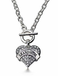 cheap -- Grandmom Toggle Charm Necklace for Women - Silver Pave Heart Charm 18 Inch Necklace with Cubic Zirconia Jewelry