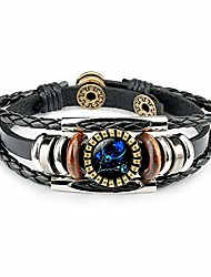 cheap -12 zodiac constellation bracelet, leather hand-woven galaxy astrology luminous adjustable snap buckle wristband-retro fashion (best friend's constellation gift)