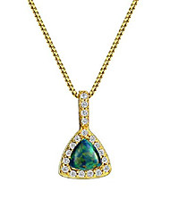cheap -18k gold plated opal pendant necklace sterling silver triangle with cubic zirconia accented fine jewelry for women