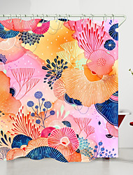 cheap -Floral Shower Curtain Polyester Flowers Fabric Bathroom Curtains Set with Hooks New Design