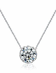 cheap -crown pendant necklace 14k white gold plated dainty silver chain choker 2.25 ct 5a cubic zirconia birthstone necklace for women girl jewelry gift 18""