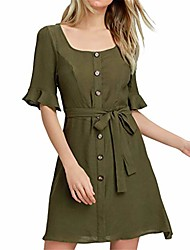 cheap -casual button belt tunic top t-shirt dress half sleeve ladies vintage sexy summer spring mini dress girls loose sexy party holiday beach sundress army green