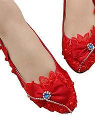 cheap -Women's Wedding Shoes Flat Heel Round Toe Wedding Pumps Sweet Wedding Walking Shoes PU Red flat bottom with the same paragraph [standard code] Red 3 cm with the same style [standard size] Red 5 cm