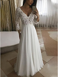 cheap -A-Line Wedding Dresses V Neck Floor Length Chiffon Lace 3/4 Length Sleeve Romantic Beach Plus Size with Pleats Appliques 2021