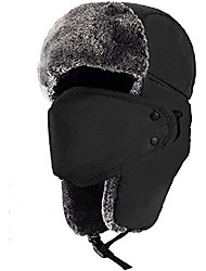 cheap -Trooper Trapper Hat with Ear Flaps Winter Ski Hat Face Masks Washable Hunting hat,Dustproof and Windproof Warm Hat for Men Women (Black)