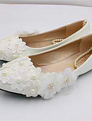 cheap -Women's Wedding Shoes Flat Heel Pointed Toe Wedding Flats Sweet Wedding PU Lace Flower Solid Colored 3 cm heel [standard size] 5 cm heel [standard size] 8 cm heel [standard size]