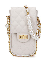 cheap -Women's Bags PU Leather Mobile Phone Bag Pearls Chain Plaid Checkered 2021 Daily Going out White Black Purple Orange