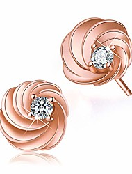 cheap -Gift for Christmas  18K Gold Plating Silver CZ Hollow Love Heart/Swirl Stud Earrings Cubic Zirconia Hypoallergenic Earrings Jewelry for Women and Girls (Rose Gold-Swirl)