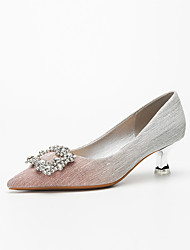 cheap -Women's Wedding Shoes Stiletto Heel Pointed Toe Wedding Pumps Classic Daily Gleit Rhinestone Color Block Pink Gray