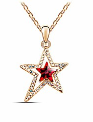 cheap -Charm Triple Crystal Star Long Sweater Chain Necklace Fine Jewelry Crystals Women Red Pearl Cross Tassel Necklace (Irregular Star Gold)