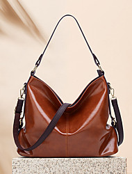 cheap -women faux leather retro fashion large wax leather capacity handbag shoulder bag tote