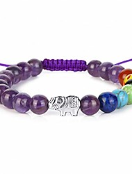 cheap -7 Chakra Healing Crystal 8mm Gemstone Bead Lucky Elephant Macrame Tassels Braided Bracelets (Amethyst)