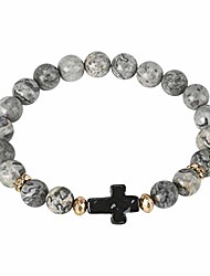 cheap -Black Horizontal Box Cross Grey Marbled Agate Semi-Precious Stone Beads with Gold Tone Accents Adult Stretch Fit Beaded Bracelet