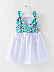 cheap -Kids Little Girls' Dress Blue & White Animal Hole Print Blue Above Knee Sleeveless Sweet Dresses Regular Fit