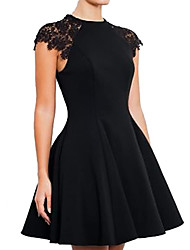 cheap -A-Line Little Black Dress Minimalist Homecoming Cocktail Party Dress Jewel Neck Short Sleeve Short / Mini Stretch Satin with Appliques 2021