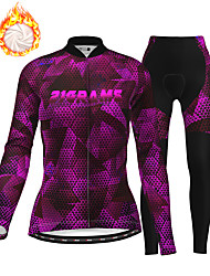 cheap -21Grams Women's Long Sleeve Cycling Jersey with Tights Winter Fleece Purple Bike Thermal Warm Fleece Lining Breathable Warm Quick Dry Sports Graphic Mountain Bike MTB Road Bike Cycling Clothing