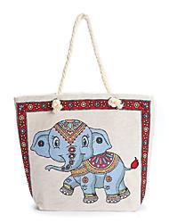 cheap -women elephant printed large capacity national tote handbag