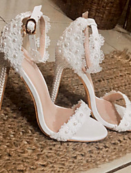 cheap -Women's Wedding Shoes Pumps Open Toe Wedding Sandals Business Sexy Minimalism Wedding Party & Evening PU Pearl Buckle Lace Solid Colored White