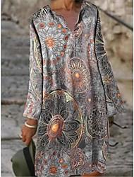 cheap -Women's Shift Dress Knee Length Dress Blue Yellow Blushing Pink Gray Long Sleeve Printed Print Spring Summer V Neck Vintage 2021 S M L XL XXL 3XL 4XL 5XL
