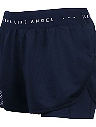 cheap -women's double layered running shorts with built-in inner compression and pocket for workout gym yoga medium black