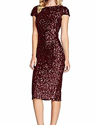 cheap -greatestpak sexy women's sparkle glitzy glam sequin flapper party club short sleeve dress red