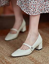 cheap -Women's Wedding Shoes Chunky Heel Square Toe Wedding Daily Nappa Leather White Burgundy