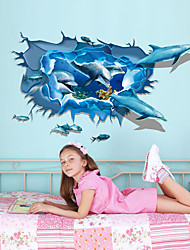 cheap -3D Underwater World Dolphin Group Wall Paste Children Room Kindergarten Creative Background Decoration Can Be removed Stickers