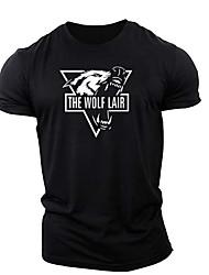 cheap -Men's T shirt 3D Print Graphic Animal Print Short Sleeve Daily Tops Cotton Casual Sports White Black Navy Blue