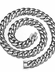 """cheap -Men's Boys Stainless Steel Cuban Link 15mm 14"""" Silver Curb Chain Necklace"""