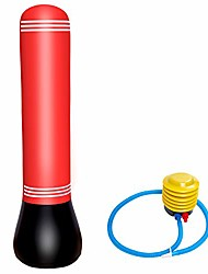 cheap -Inflatable Free Standing Punching Bag Column Inflatable Fitness Training Boxing Target Stand Tower Bag with Foot Air Pump Relieving Pressure for Teens Adults, 150cm