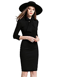 cheap -women's vintage 40s 50s 3/4 sleeves bowknot collar bodycon midi dress red black