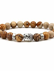 cheap -8mm Natural Stone Bracelet Black Lava Volcano Buddhism Head Man Ma'am Elastic Bracelet Beads Bracelets For Women Men Punk male (Agate image)