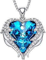 cheap -VELVETLUX Angel Wing Love Heart Necklaces (Montego Blue)