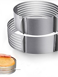 """cheap -2pcs adjustable layer cake slicer 9""""-12"""" and 6""""-8"""" stainless steel multi layered ring circular cutter baking tool kit mousse mould for women wedding christmas mothers day gift (cake slicer)"""