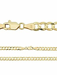 cheap -Solid 10k Gold Mens Cuban Link Chain Or Bracelet - 5mm - Flat Cuban Necklace - Italy Made (20)