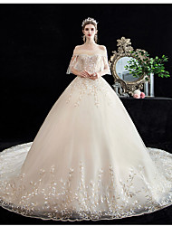 cheap -Princess Ball Gown Wedding Dresses Off Shoulder Chapel Train Lace Tulle Short Sleeve Formal Luxurious with Appliques 2021