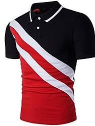 cheap -Men's Fashion Stripe Contrast Color Short Sleeve Polo T Shirt