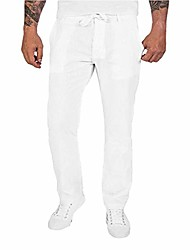 cheap -mens cotton linen casual pants elastic waist loose fit trousers cargo beach pant straight legs stretchy pants white